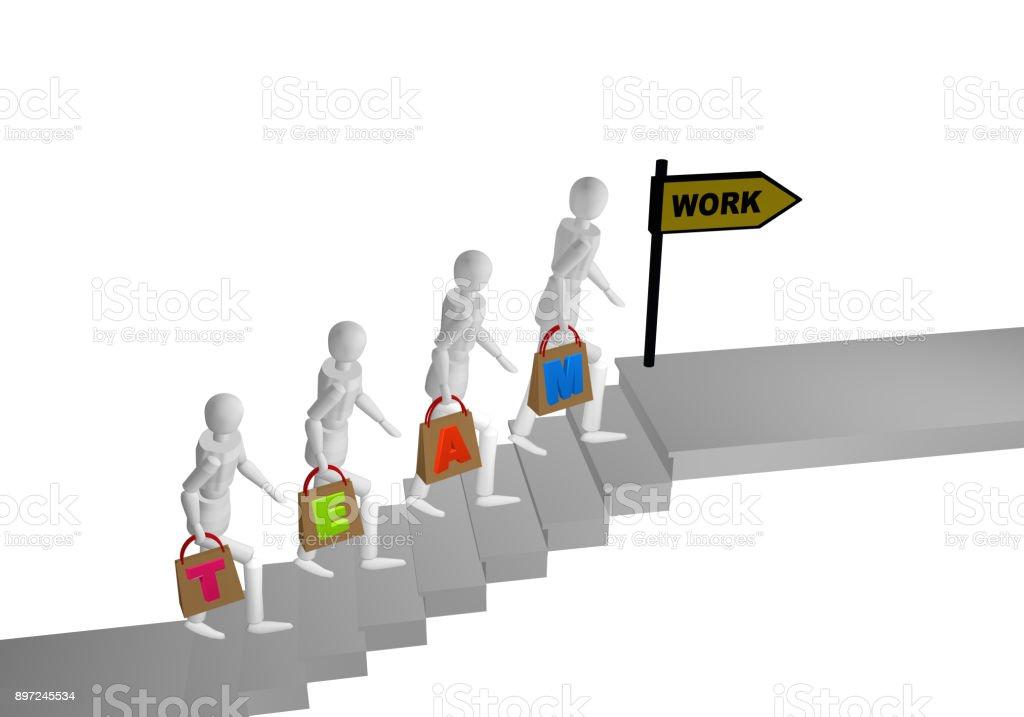 Personengruppe sterben Eine Treppe Hochgeht Und in Den Händen Taschen Mit Dem Johanniskraut Team Zweisimmen. Ende der Treppe Steht Ein Schild Mit Arbeit bin. – Foto