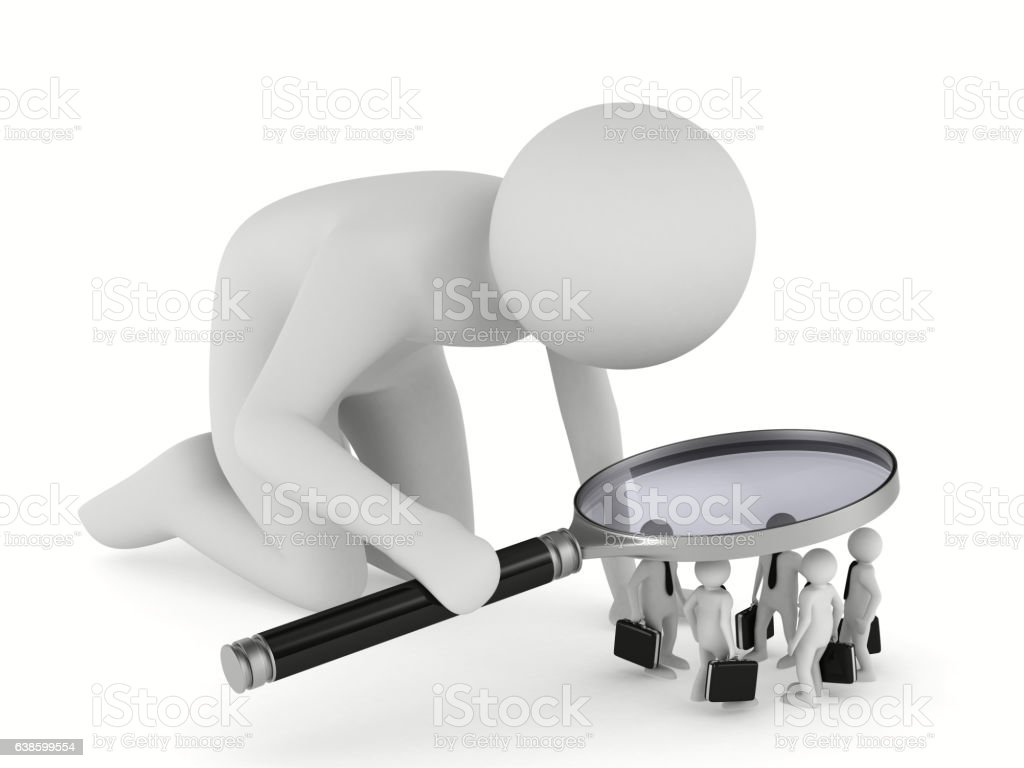 personnel selection on white background. Isolated 3D image vector art illustration