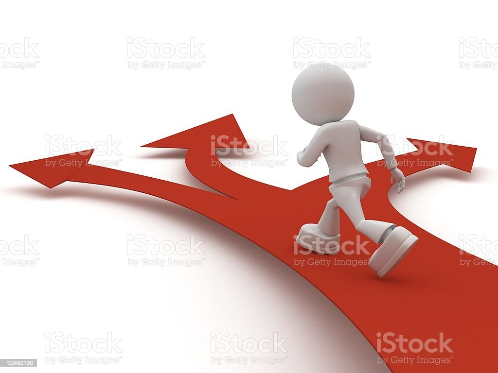 persons goes on red arrow royalty-free stock photo