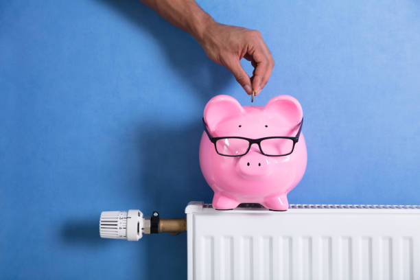 Person's Hand Adjusting Thermostat A Person's Hand Adjusting Thermostat With Piggy Bank On Radiator 40 kilometre stock pictures, royalty-free photos & images