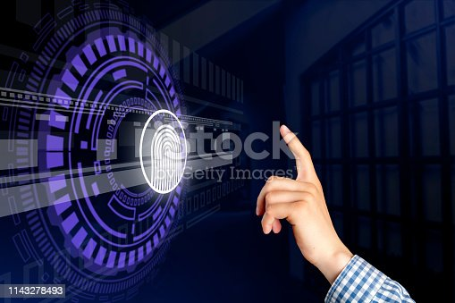 istock persons hand and 3d finger print hologram in front of him b 1143278493