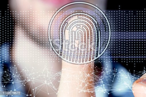 istock persons hand and 3d finger print hologram in front of him b 1143278572