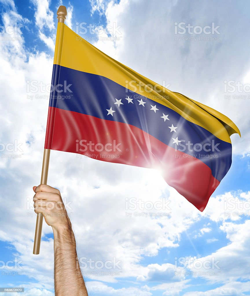 Person's hand holding the Venezuelan national flag and waving it - foto de stock
