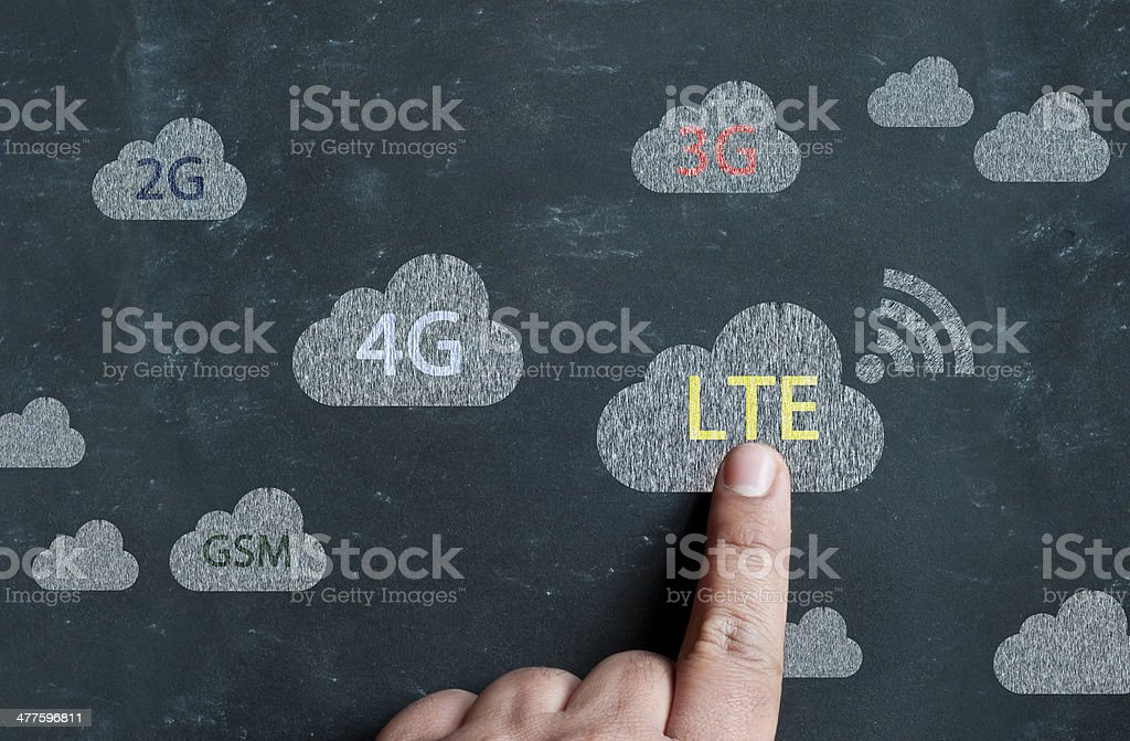 Person's hand pointing finger on LTE sign stock photo