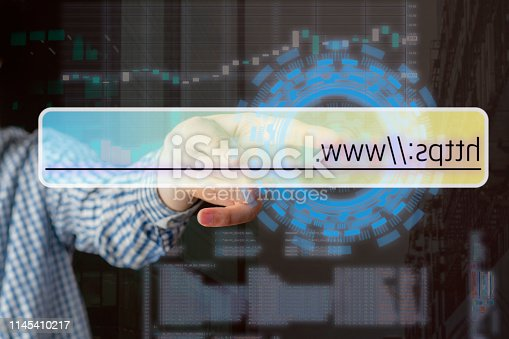 istock persons hand touch virtual adress bar b 1145410217