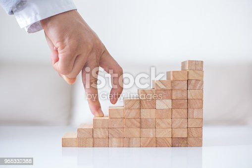 istock Persons hand walking up a set of wooden blocks. Business development and growth concept 955332388