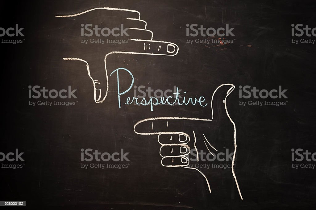 TEXT Perspective against black backdrop - Illustration stock photo
