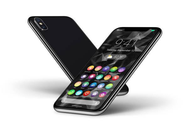 Perspective smartphones noir avec design matière plate UI interface face avant et face arrière - Photo