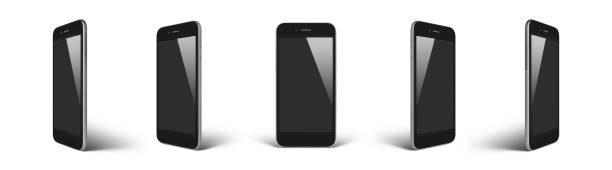Perspective concept of empty screen smartphone isolated stock photo