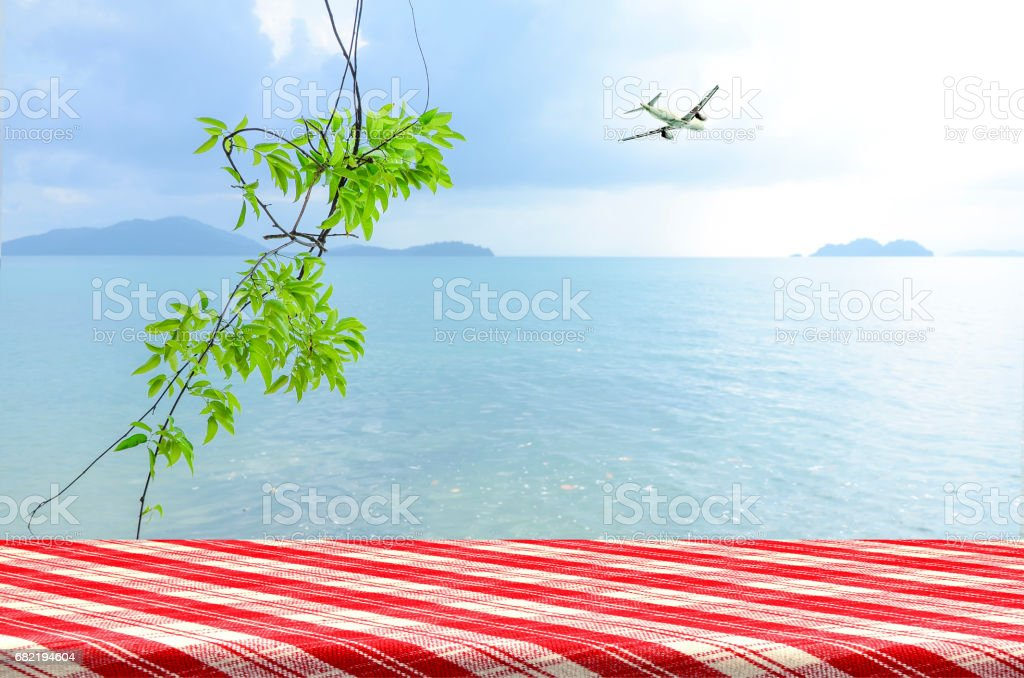 Perspective counter background with sea view. stock photo