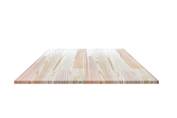 Perspective empty wooden counter with white background. Including clipping path for product display montage or design layout. stock photo