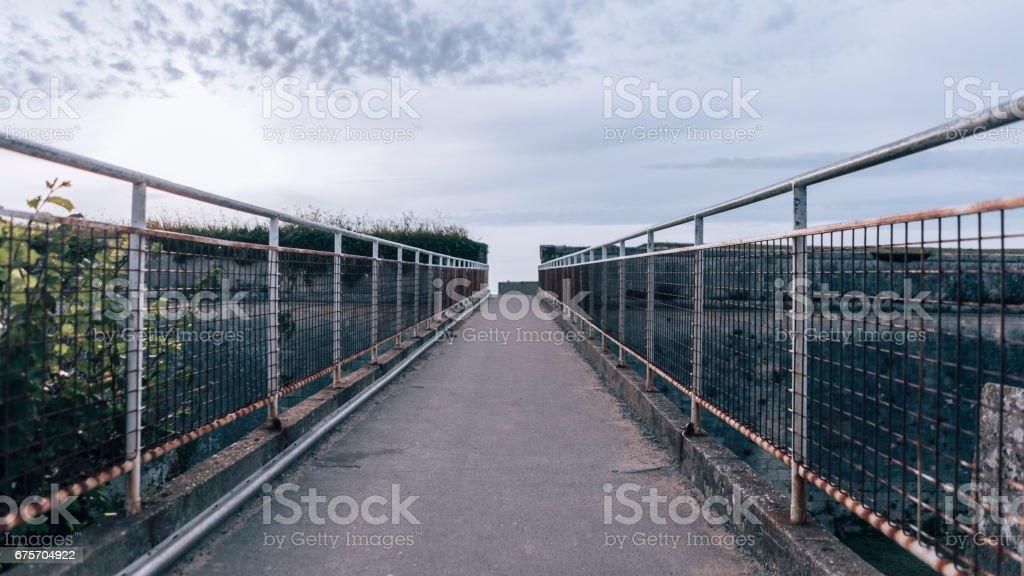 Perspective footbridge in St Martin de Ré royalty-free stock photo