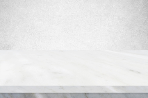 Perspective marble table surface background, Grey and white marble table top for kitchen product display background, Empty desk, shelf, counter and white wall for food and store backdrop, template