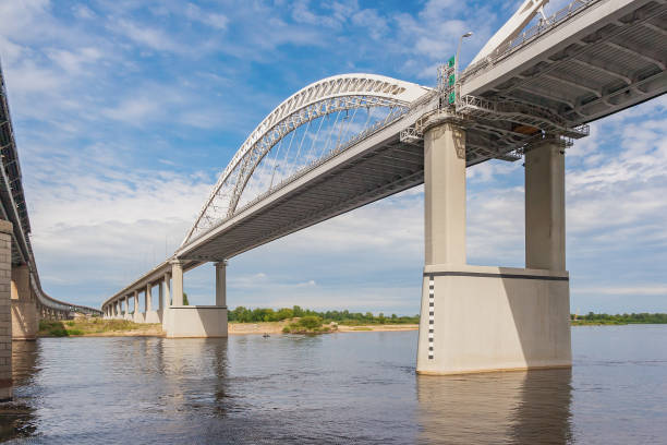 Cтоковое фото Perspective of an automobile bridge across the Volga, Nizhny Novgorod