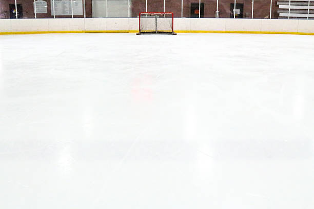 Perspective of an ice hockey rink and tiny goal