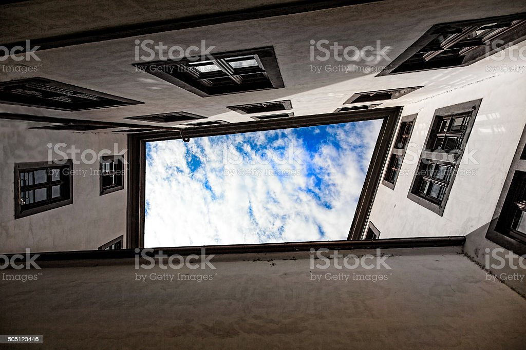 Perspective of building and sky. stock photo