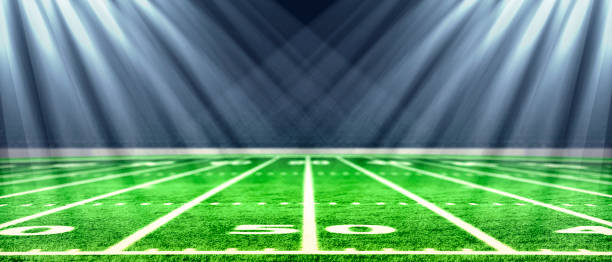 Perspective of football field. Football stadium with white lines marking the pitch. Perspective elements.Ragby football field with white lines marking the pitch. 3d illustration. Football stadium with white lines marking the pitch. Perspective of football field. Perspective elements.Ragby football field with white lines marking the pitch. 3d illustration. american football field stock pictures, royalty-free photos & images