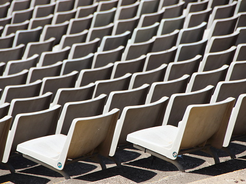 Perspective of Gray Spectator Seats at Arena