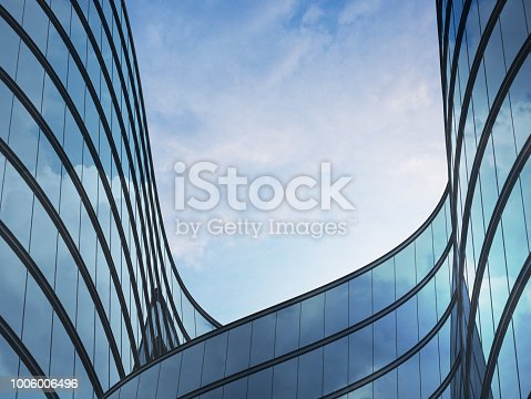 Perspective of high rise building and dark steel window system with clouds reflected on the glass.Business concept of future architecture,lookup to the angle of the building corner. 3d rendering