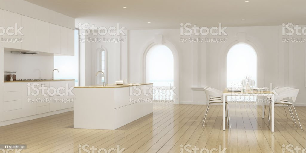 Perspective Of Luxury Kitchen Room With Dining Table And Modern White Laminate Island On Sea View Background Classic Interior Style Design 3d Rendering Stock Photo Download Image Now Istock