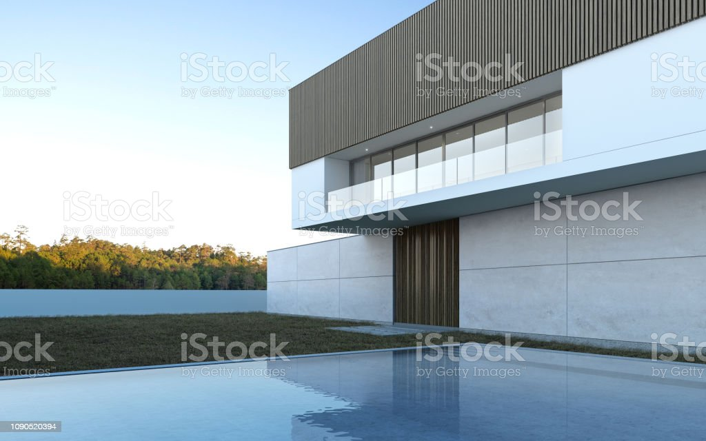 Perspective of luxury modern house with swimming pool and lawn yard...