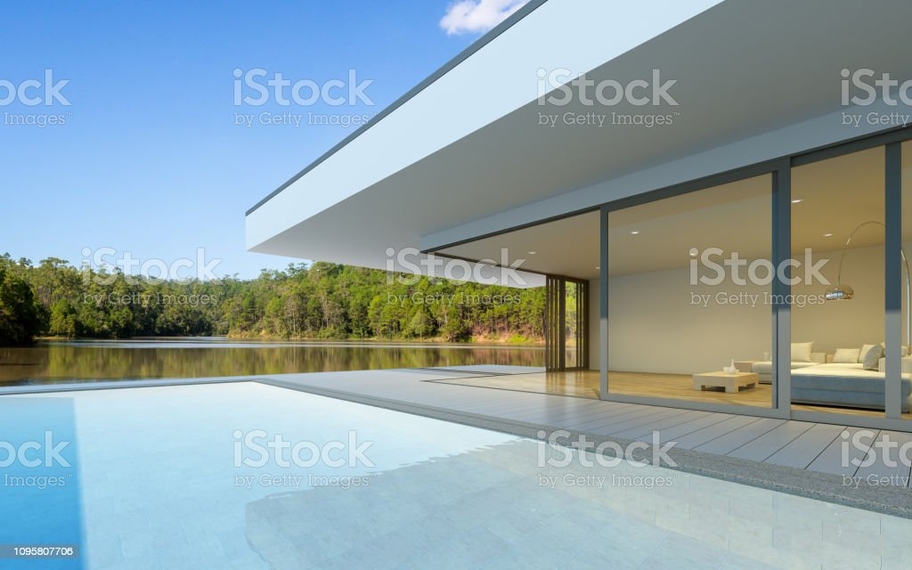 Perspective of luxury modern house with swimming pool in day time on...