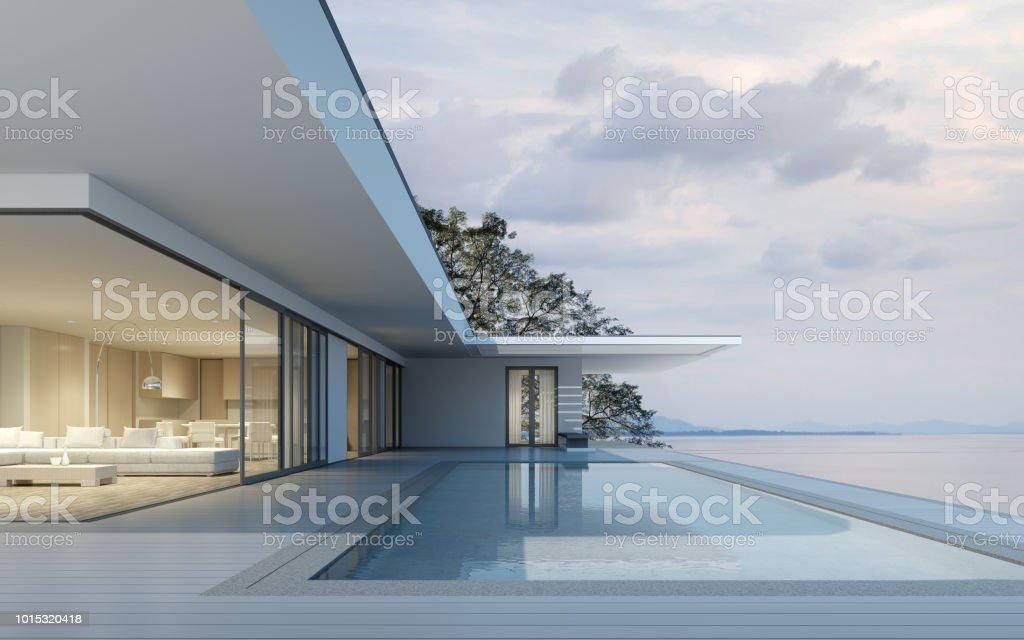 Perspectiva De Edificio Moderno Con Terraza Y Piscina En Mar