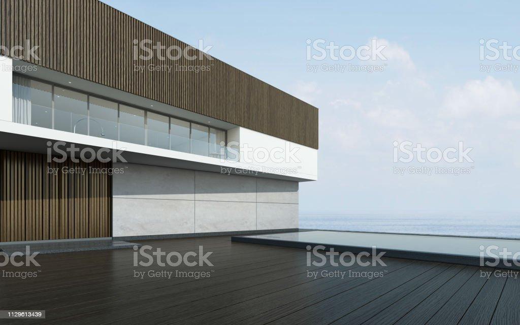 Perspectiva Del Edificio Moderno Con La Terraza Y La Piscina