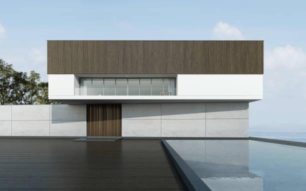 perspektive der modernen gebäude mit terrasse und pool am meer blick hintergrund, idee, urlaub mit der familie, minimale architekturdesign. 3d-rendering. - küstenfamilienzimmer stock-fotos und bilder