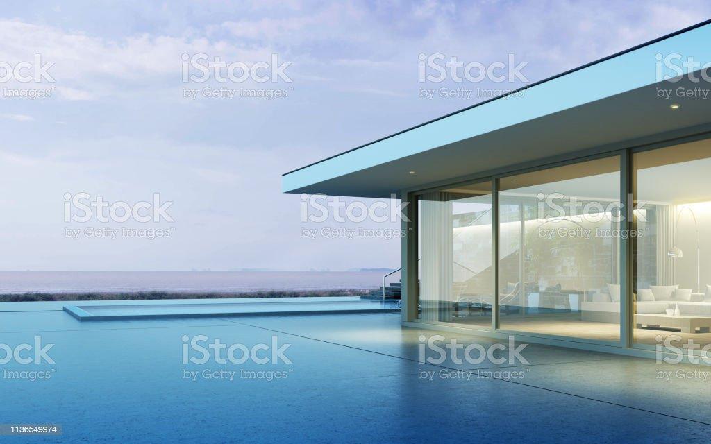 Perspectiva Del Edificio Moderno Con La Terraza De Madera Y
