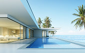 Perspective of modern house with swimming pool on sea background, Exterior. 3d rendering