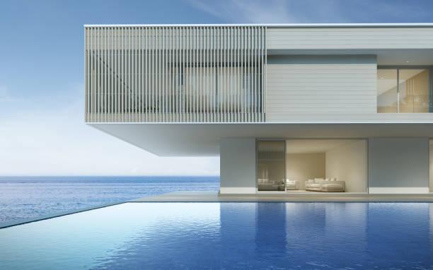 perspektive des modernen luxus-gebäude mit holzterrasse und schwimmbad auf meerblick hintergrund, idee von familienurlaub. 3d-rendering. - küstenfamilienzimmer stock-fotos und bilder