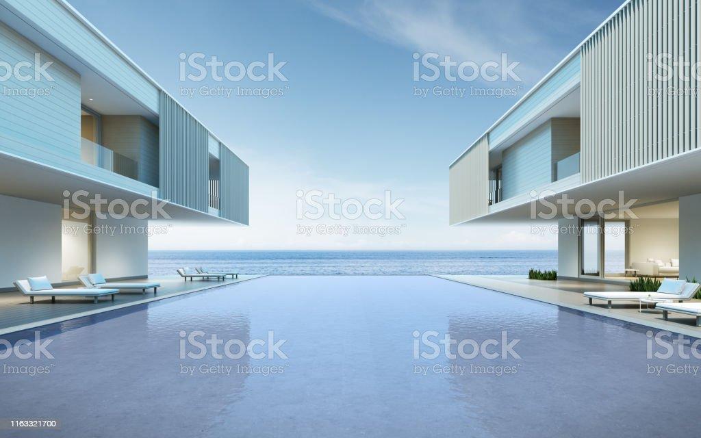 Perspectiva Del Edificio De Lujo Moderno Con Terraza De Madera Y Piscina En El Fondo Con Vistas Al Maridea De Vacaciones En Familia Renderizado 3d