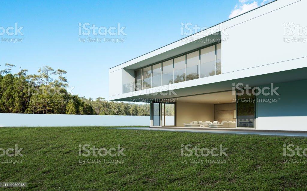 Perspektive des modernen Luxus-Hauses mit Pool und Rasenplatz im Alltag, Idee der minimalen Architektur Design. 3D-Rendering - Lizenzfrei Architektur Stock-Foto