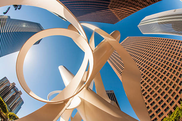 perspective of skyscraper downtown los Angeles stock photo