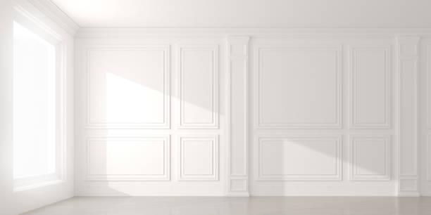 phối cảnh ánh nắng mặt trời đổ bóng lên căn phòng trống màu trắng và sàn gỗ laminate, kiến trúc không gian nội thất cổ điển.3d xuất - moulding hình ảnh sẵn có, bức ảnh & hình ảnh trả phí bản quyền một lần