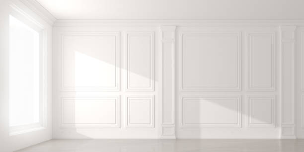 Perspective of the sun light cast the shadow on white empty room and  laminate wood floor,classic interior style.blank space architecture.3d rendering stock photo