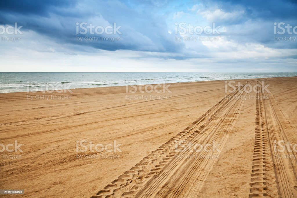 Perspective of tyre tracks on sandy beach stock photo