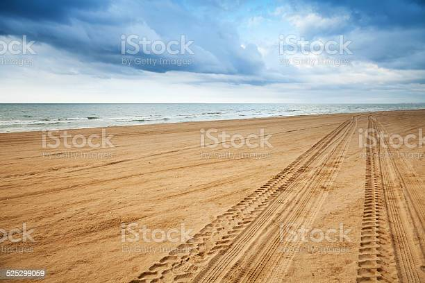 Photo of Perspective of tyre tracks on sandy beach