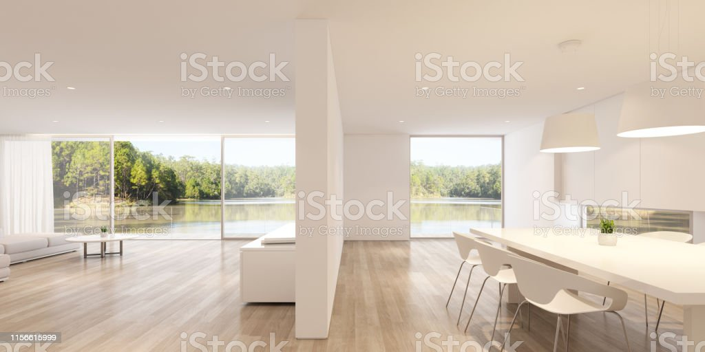 Perspective Of White Modern Luxury Living Room And Kitchen