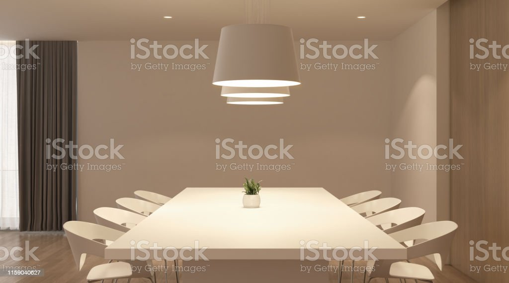 Perspective Of White Modern Luxury Room And Kitchen With Dining Table Set Idea Of Family Time Warm Timber Interior Design 3d Rendering Stock Photo Download Image Now Istock