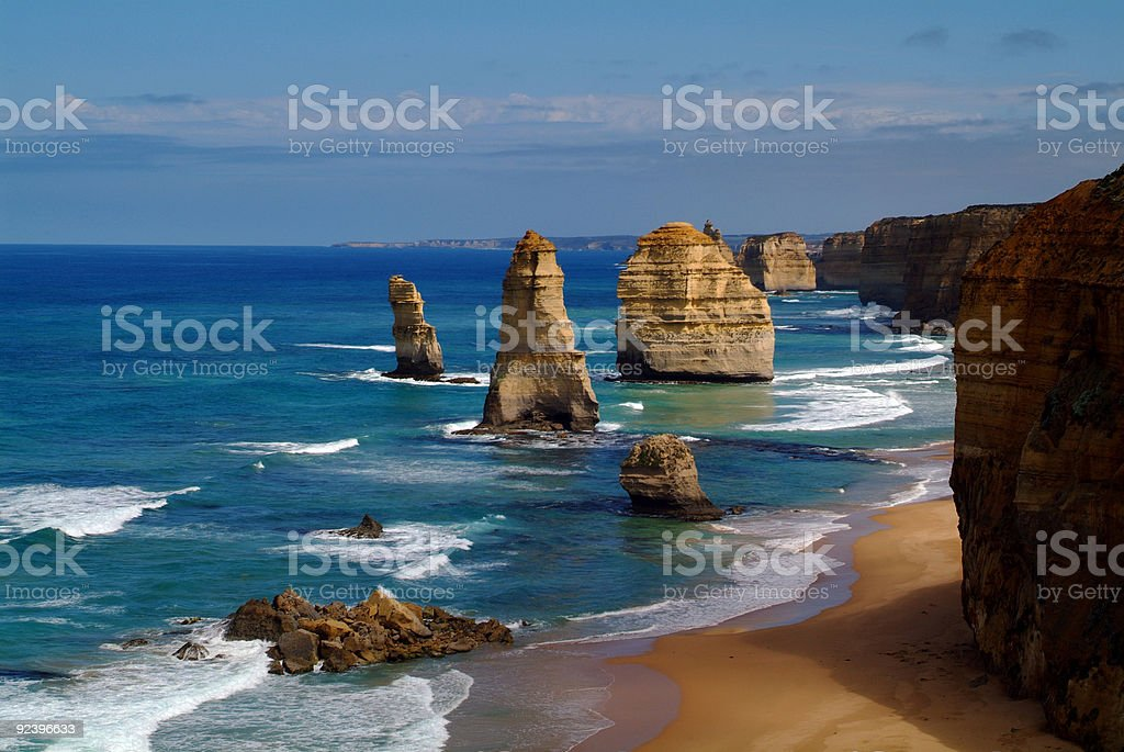 Perspective photo of The Twelve Apostles in a sunny day stock photo