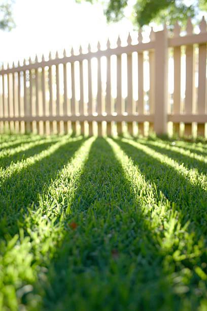 perspektive shadow gartenzaun - lattenzaun garten stock-fotos und bilder