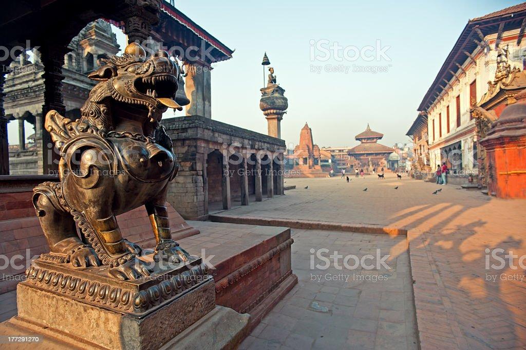 Perspective shot of Bhaktapur Dubar Square in Nepal stock photo