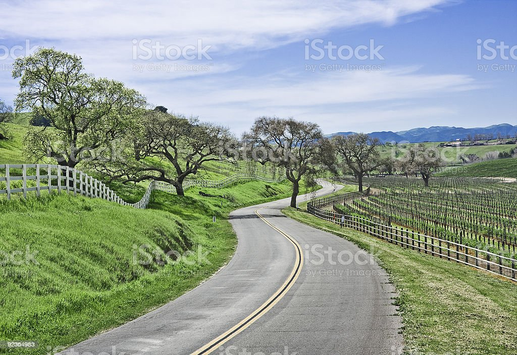 Perspective shot of winding road in countryside stock photo