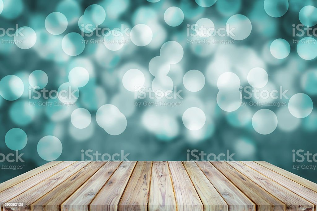 Perspective teak wood shelf and bokeh background. royalty-free stock photo