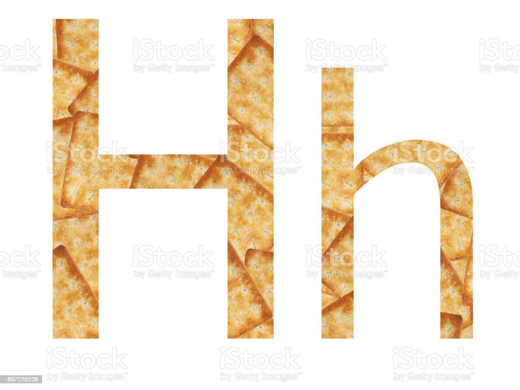 Perspectiva nica letra h may scula y min scula alfabeto h de textura de galletas fotograf a - H en majuscule ...