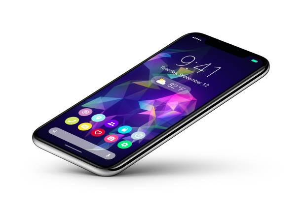 Point de vue veiw smartphone concept avec interface UI plat de conception matérielle repose sur un coin - Photo