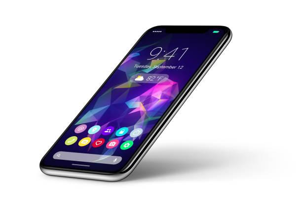 perspektive veiw smartphone-konzept mit materialdesign flachen ui-schnittstelle mit schatten - winkel stock-fotos und bilder