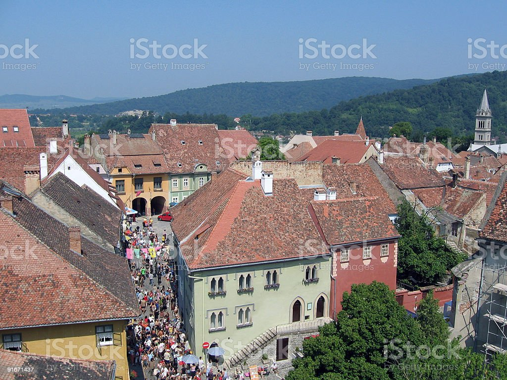 Perspective view from a tower royalty-free stock photo